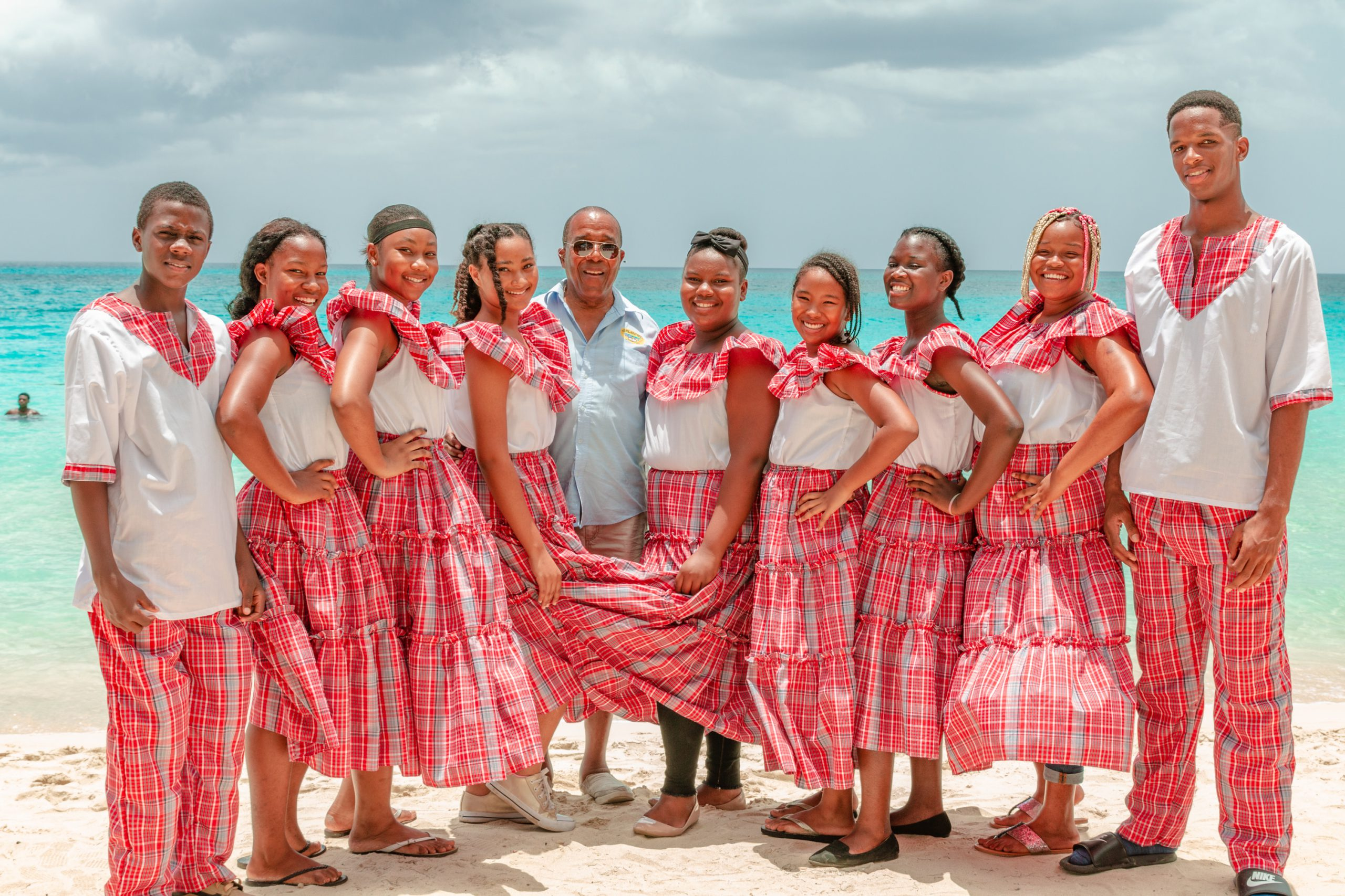 Students dressed in traditional Jamaican clothing