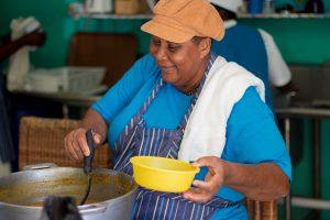 Lady cooks food