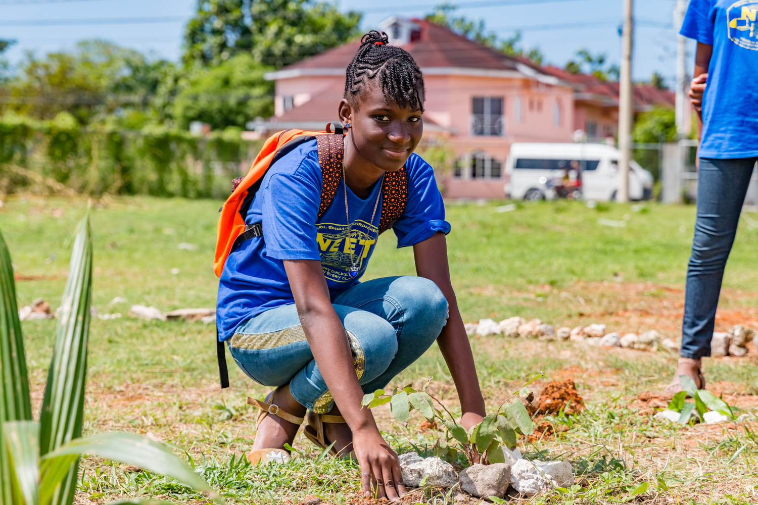Student planting a tree